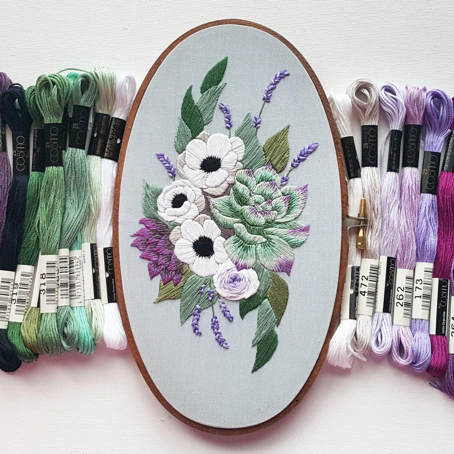 oval floral hand embroidery pattern
