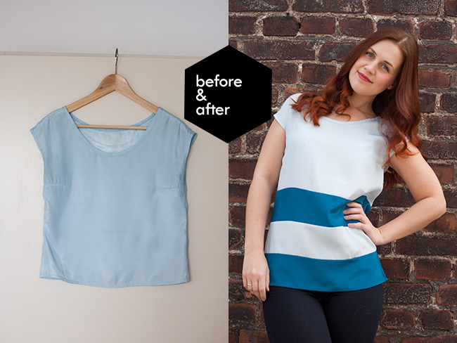 colorblocking to lengthen a top refashion