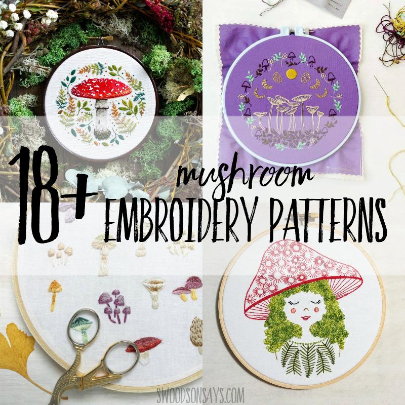 18+ mushroom embroidery patterns