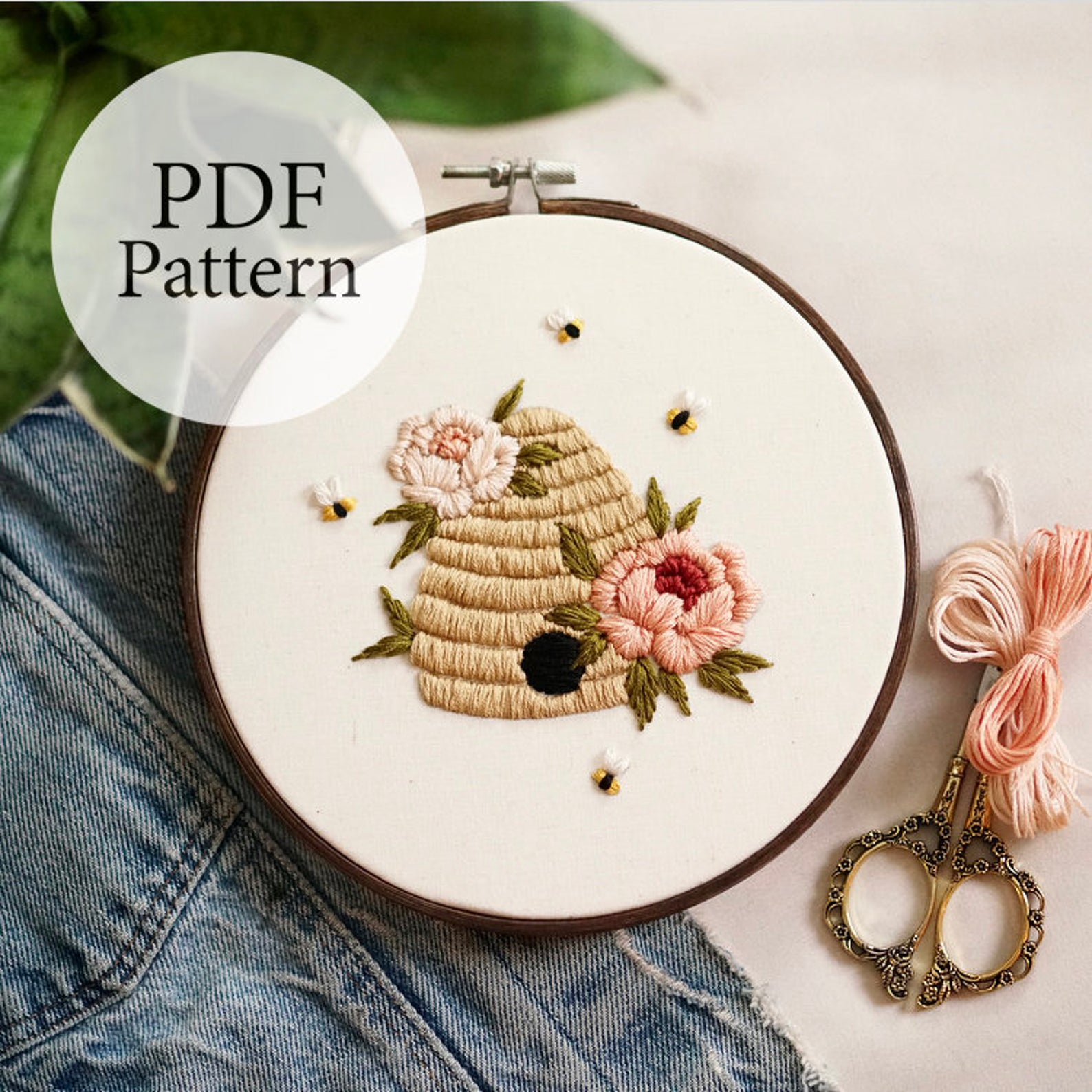 beehive embroidery pattern