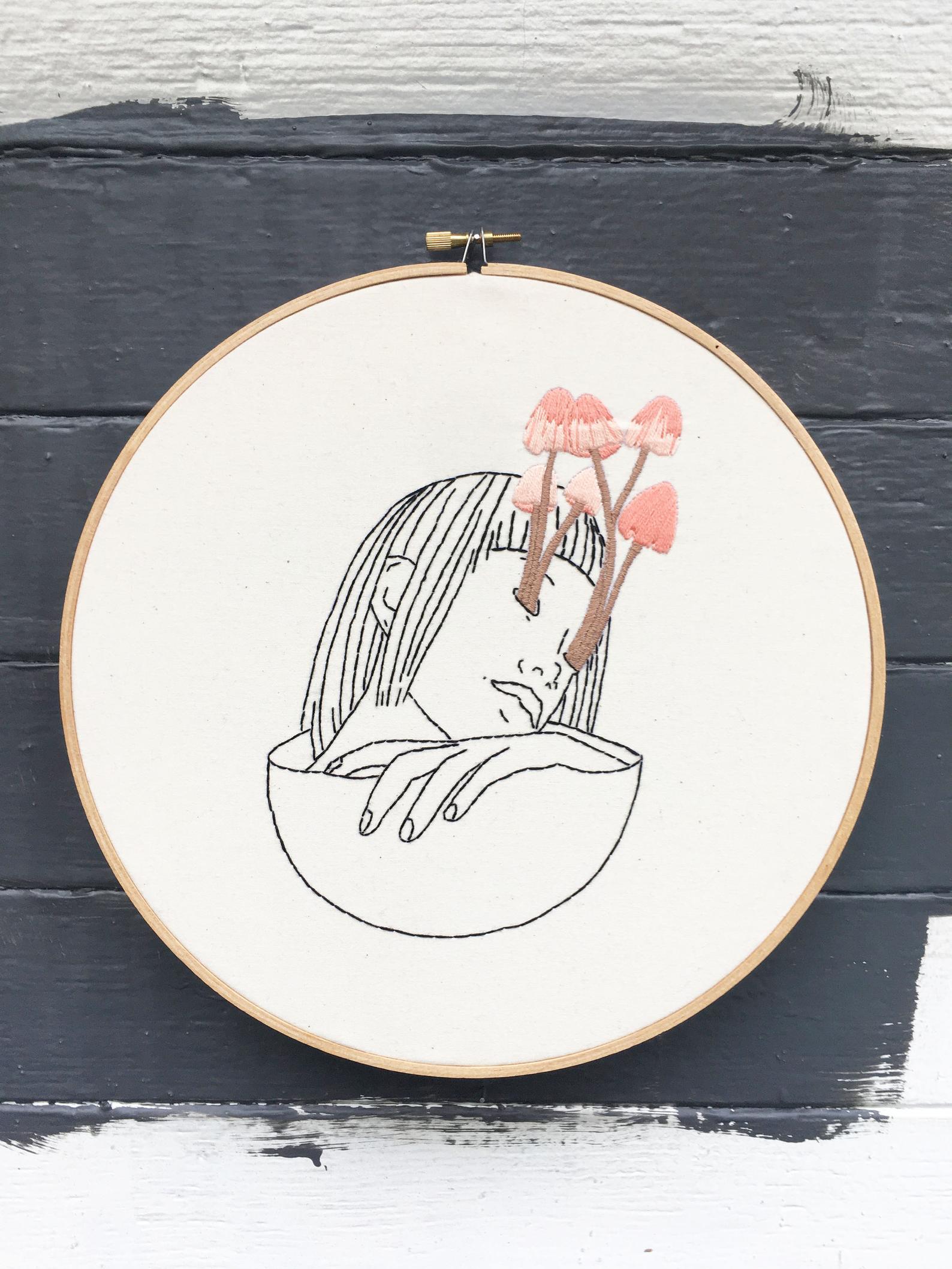 creepy mushroom embroidery pattern