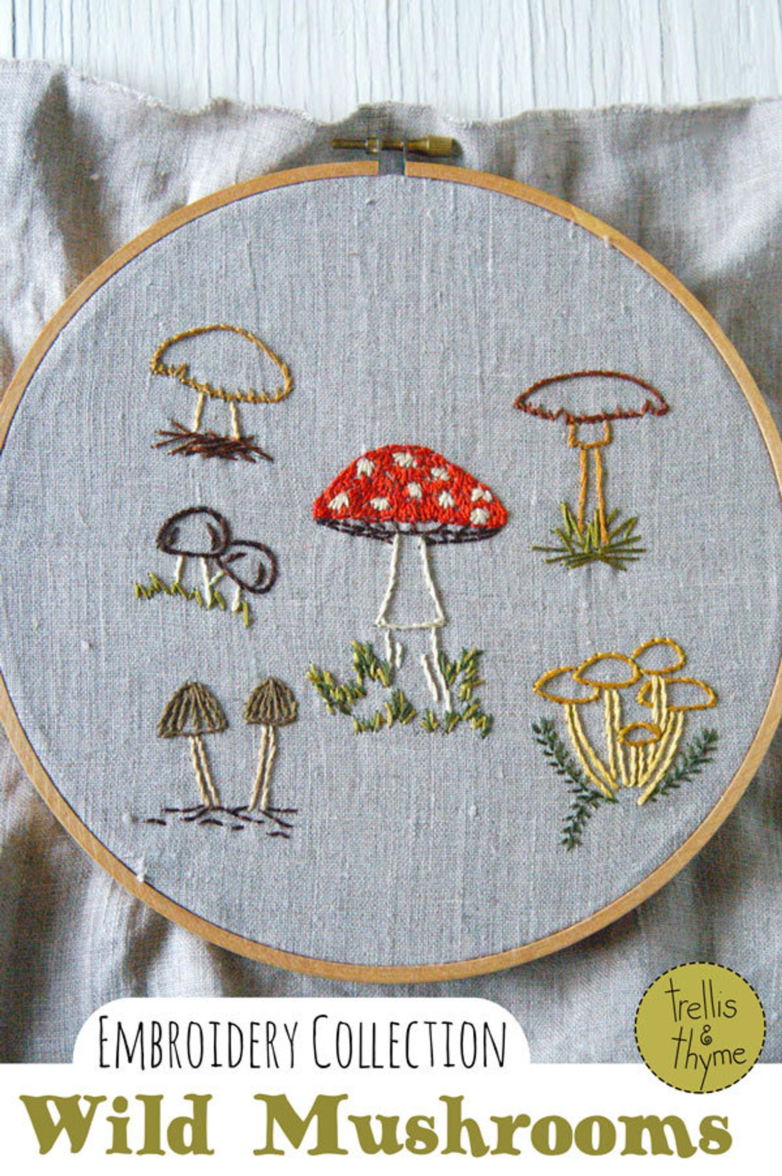 fungi embroidery pattern