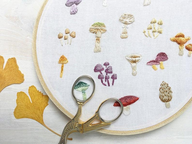 little mushroom botanical print embroidery pattern