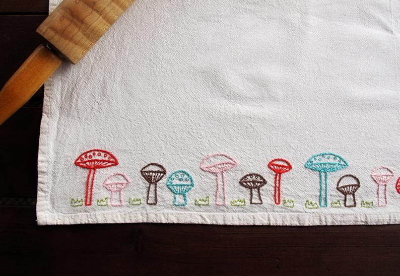 mushroom border embroidery pattern