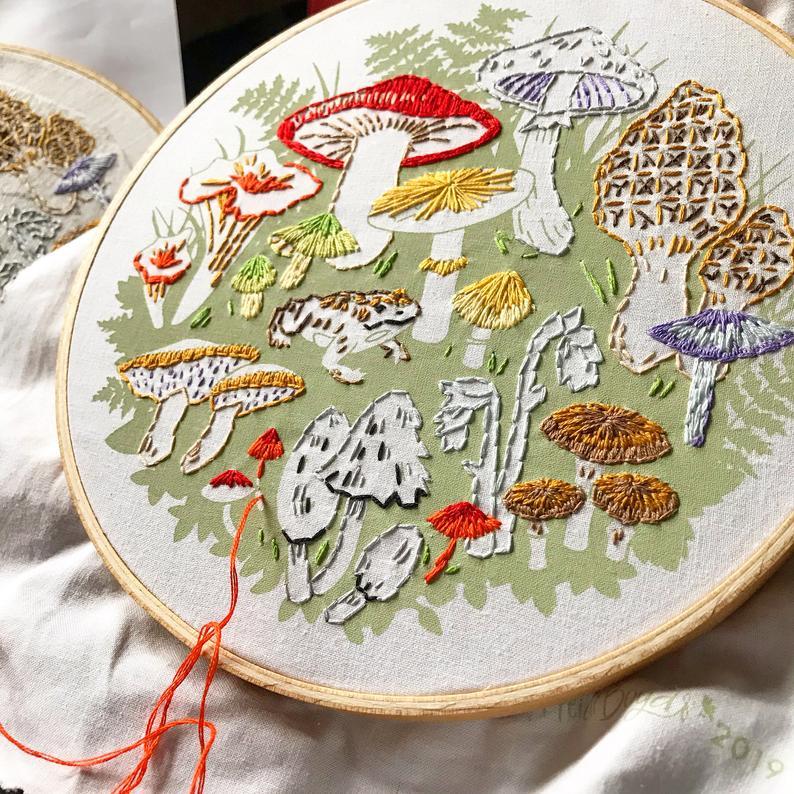 mushroom embroidery kit