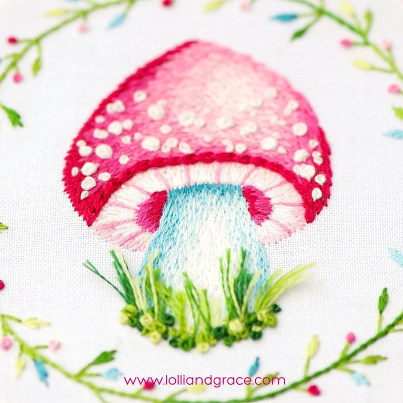 mushroom thread painting pattern