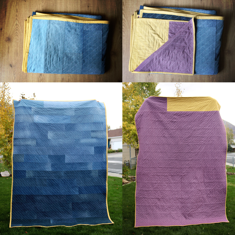 simple upcycled denim quilt