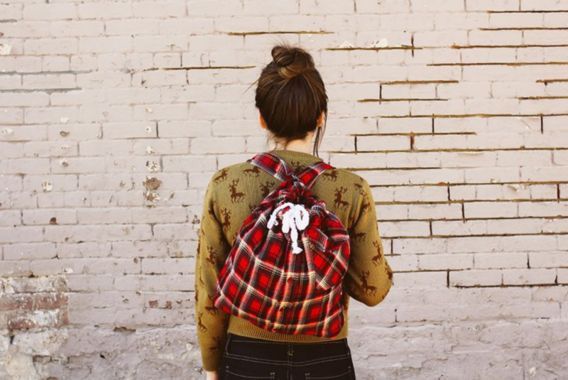 upcycled flannel shirt into backpack