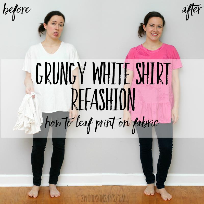 Leaf printing on fabric – grungy tshirt refashion tutorial