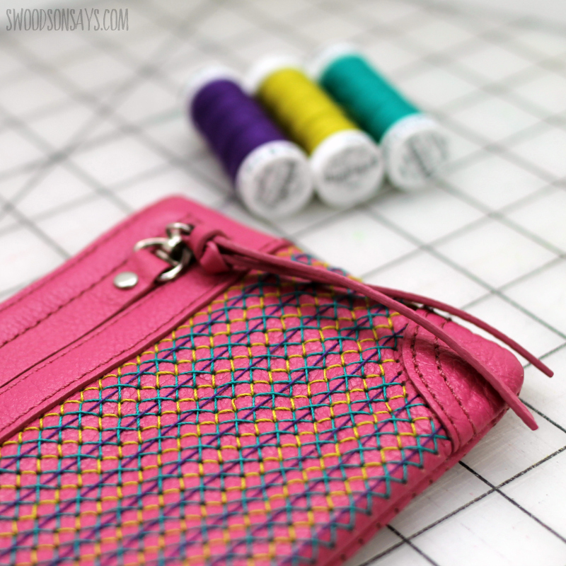 cross stitching on perforated leather