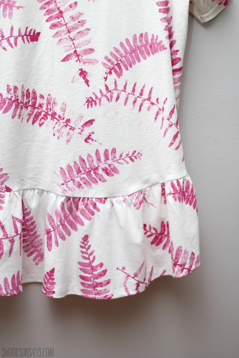 diy fern leaf print on fabric