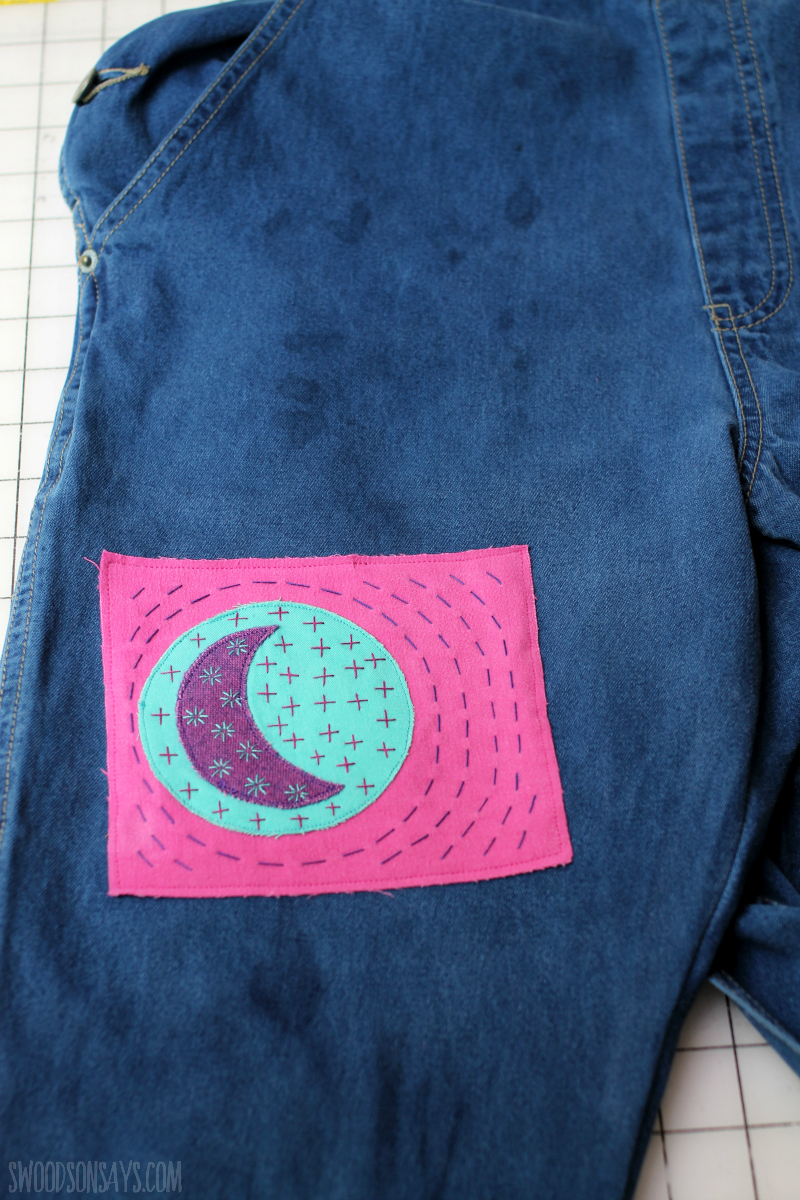 diy sashiko moon patch hand embroidered