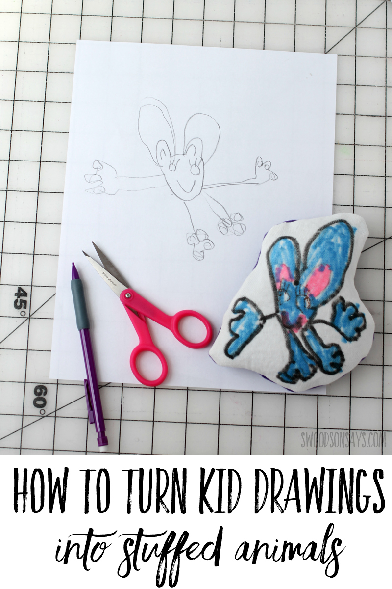 diy stuffed animal from child's drawing