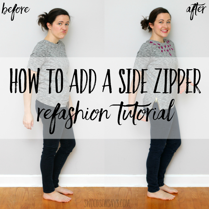 How to sew an exposed zipper to refashion a shirt bigger