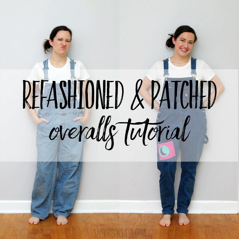 How to make jeans skinnier – overalls refashion