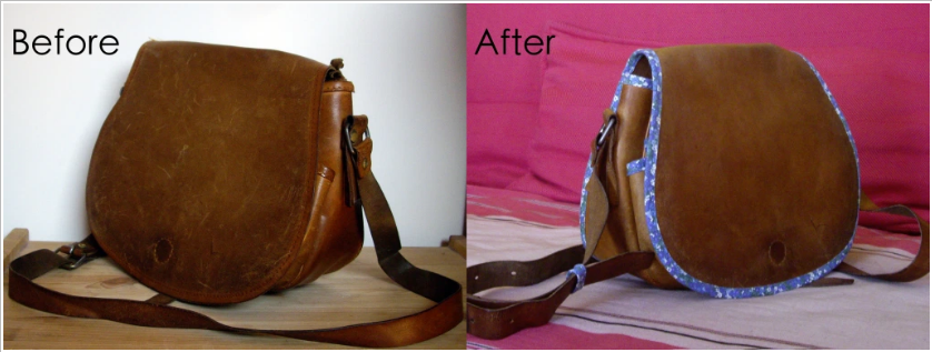 mended leather bag