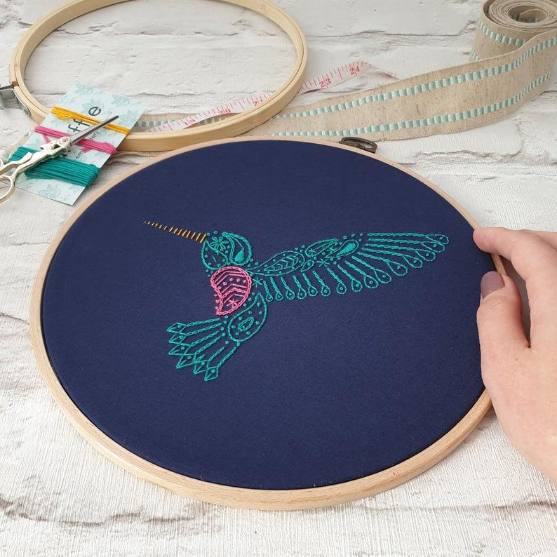 embroidered hummingbird kit