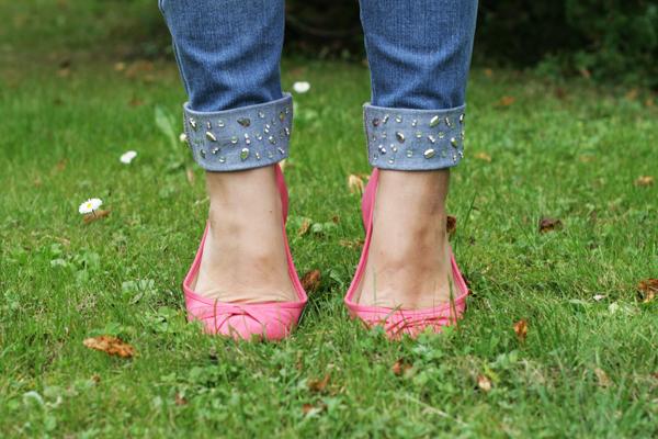 diy jewel cuff jeans refashion