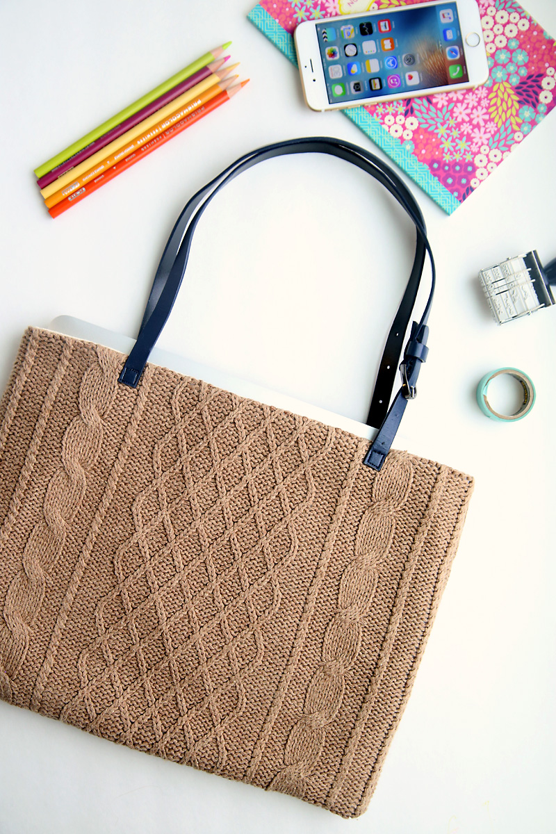 upcycled sweater tote tutorial