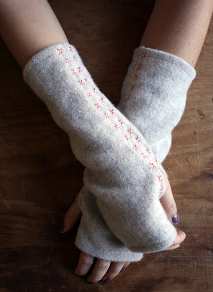 upcycled sweater wrist warmers