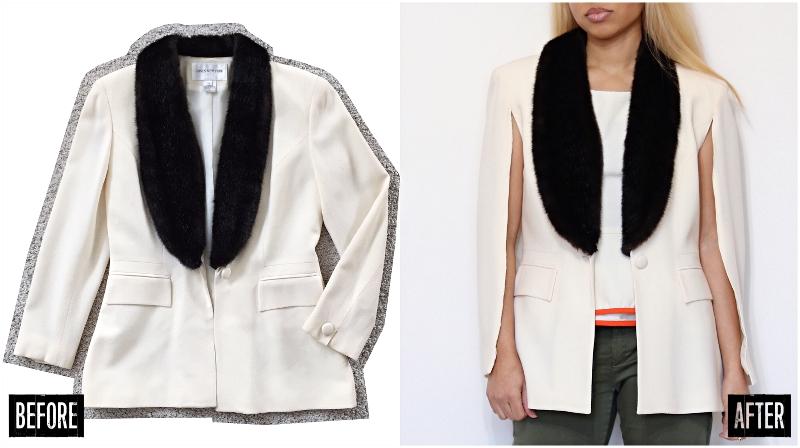jacket to cape refashion