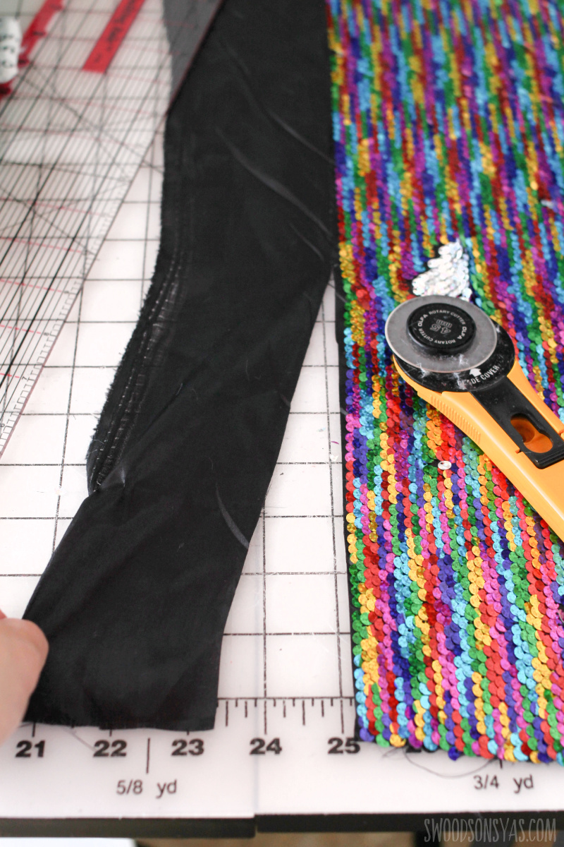 cutting sequin fabric